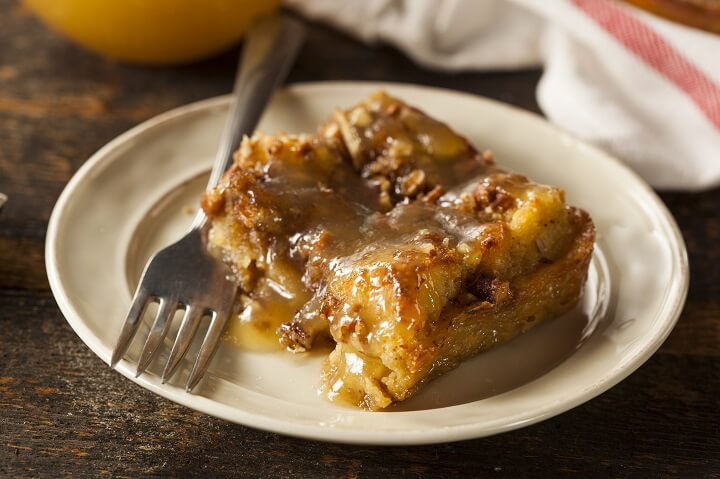 Coconut Rum Bread Pudding with Caramel Rum Sauce